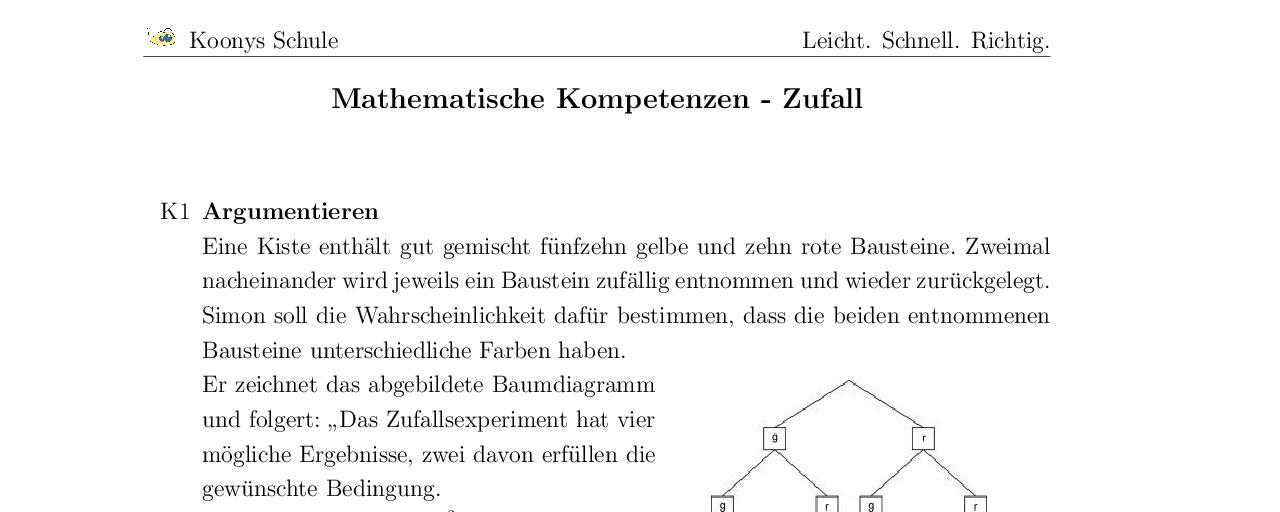 Vorschaubild des Übungsblattes Mathematische Kompetenzen - Zufall