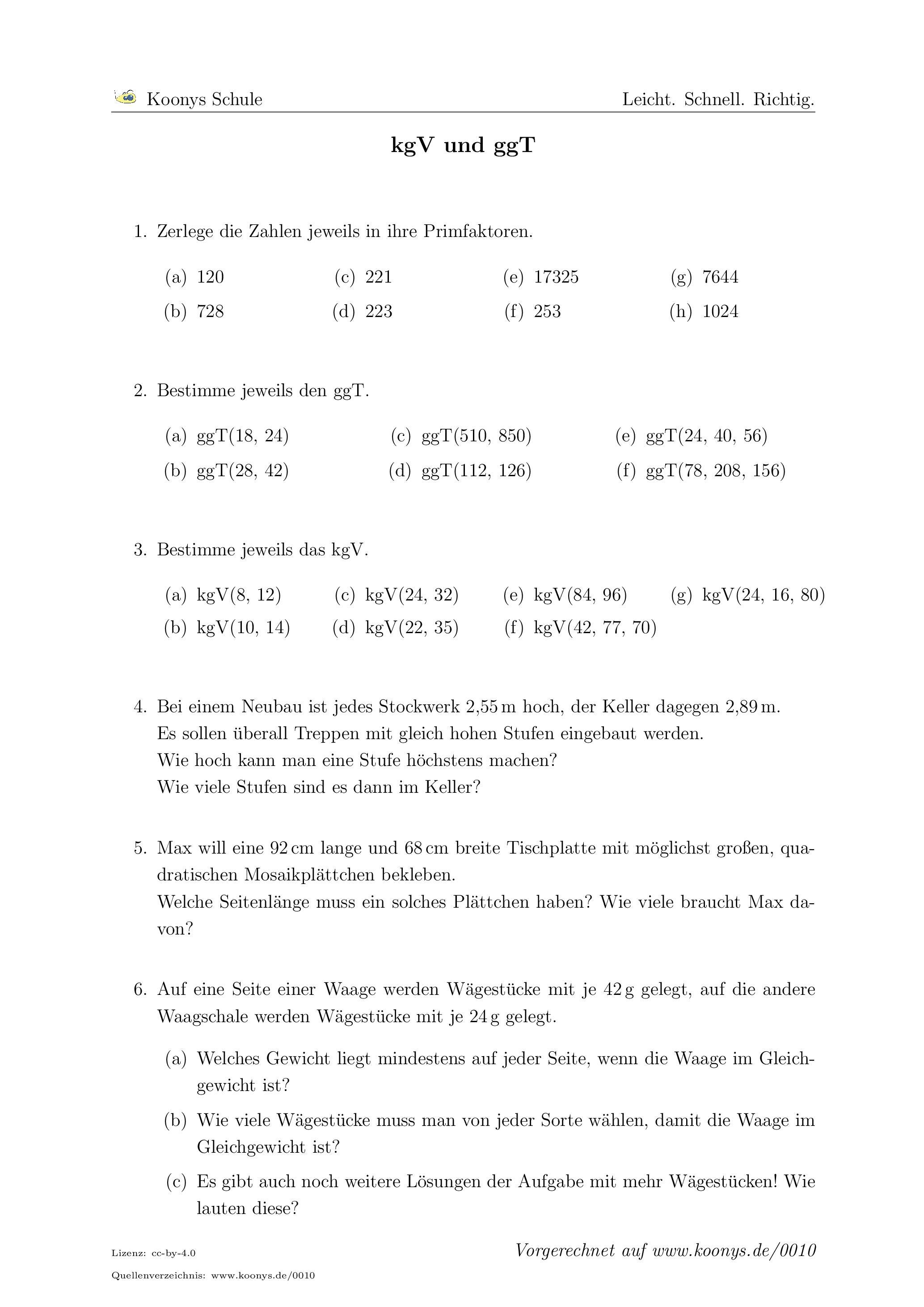 Aufgaben kgV und ggT mit Lösungen | Koonys Schule #0010