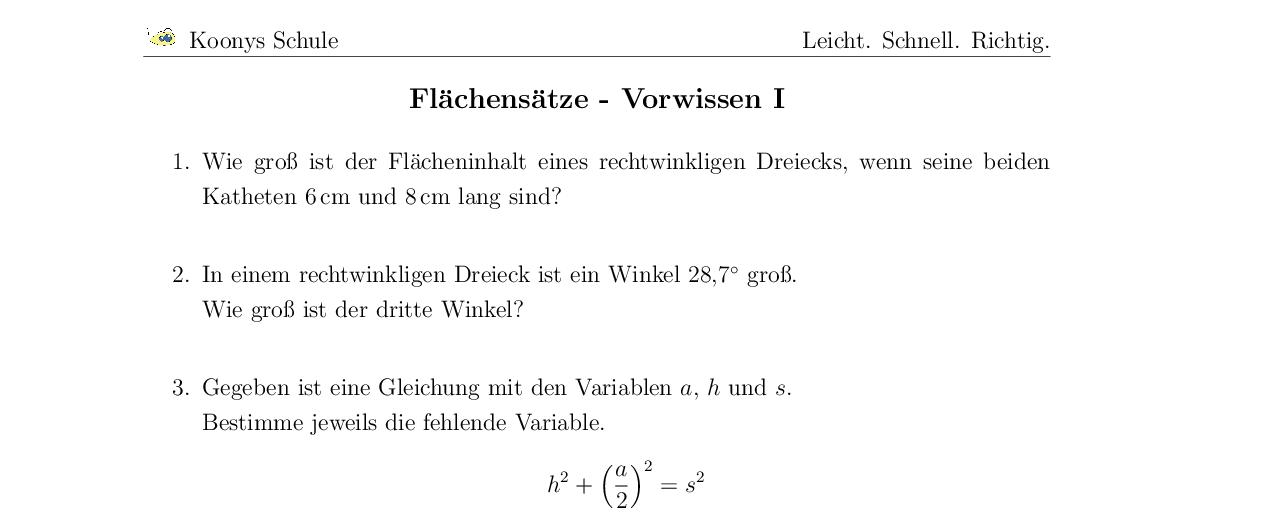 Vorschaubild des Übungsblattes Flächensätze - Vorwissen I
