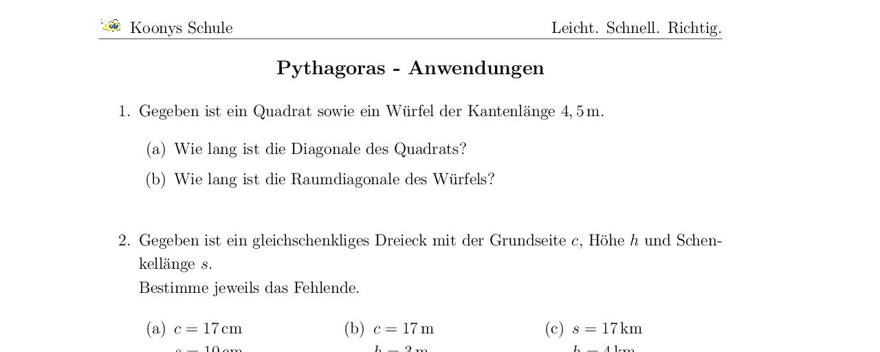 Vorschaubild des Übungsblattes Pythagoras - Anwendungen
