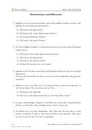 Aufgaben über Kathetensatz und Höhensatz mit Erklärungen in Videos und Lösungen.