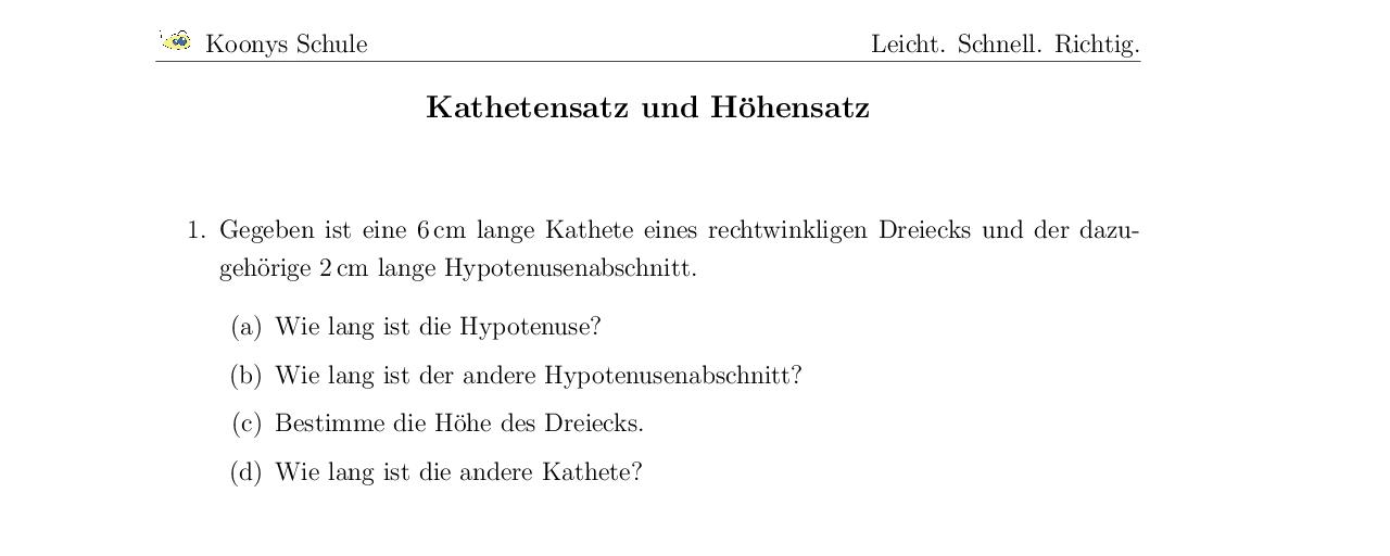 Vorschaubild des Übungsblattes Kathetensatz und Höhensatz