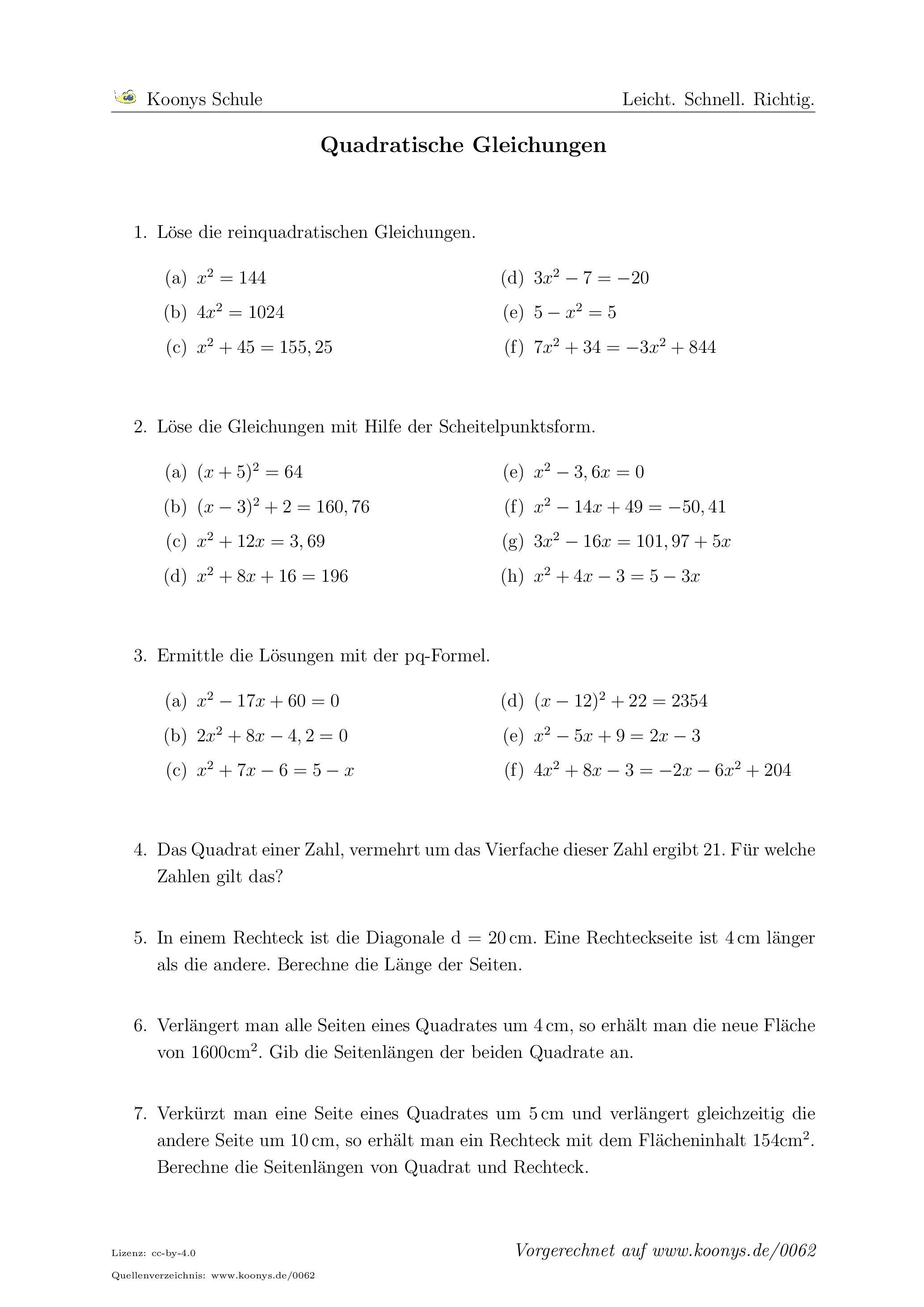Aufgaben Quadratische Gleichungen mit Lösungen | Koonys