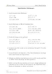 Aufgaben über Quadratische Gleichungen mit Erklärungen in Videos und Lösungen.