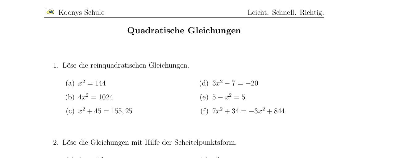 Vorschaubild des Übungsblattes Quadratische Gleichungen