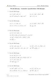 Aufgaben über Wochenübung - besondere quadratische Gleichungen mit Erklärungen in Videos und Lösungen.