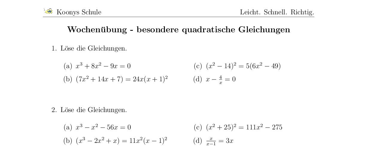 Vorschaubild des Übungsblattes Wochenübung - besondere quadratische Gleichungen