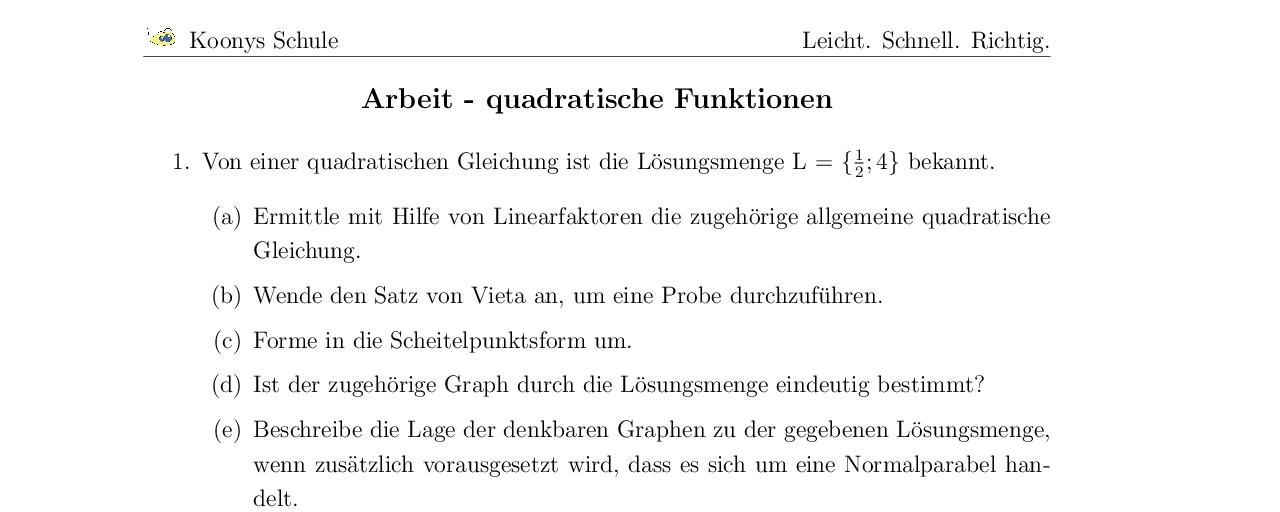 Aufgaben Arbeit - quadratische Funktionen mit Lösungen | Koonys ...