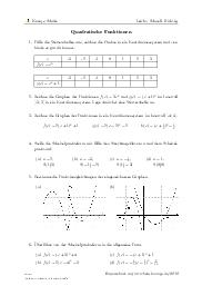 Aufgaben über Quadratische Funktionen mit Erklärungen in Videos und Lösungen.