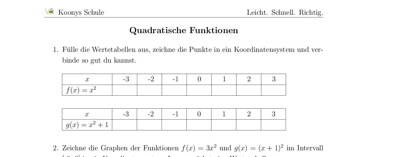 Vorschaubild des Übungsblattes Quadratische Funktionen