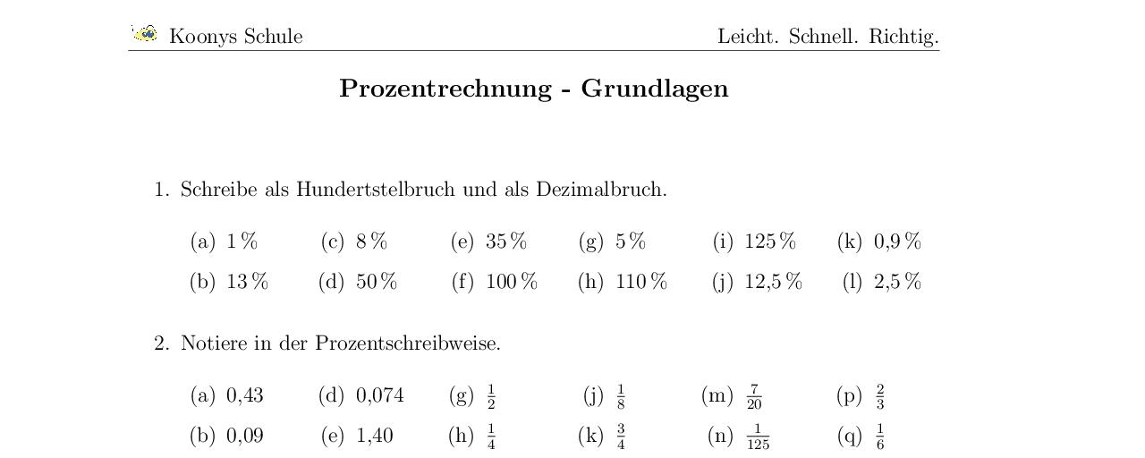Vorschaubild des Übungsblattes Prozentrechnung - Grundlagen