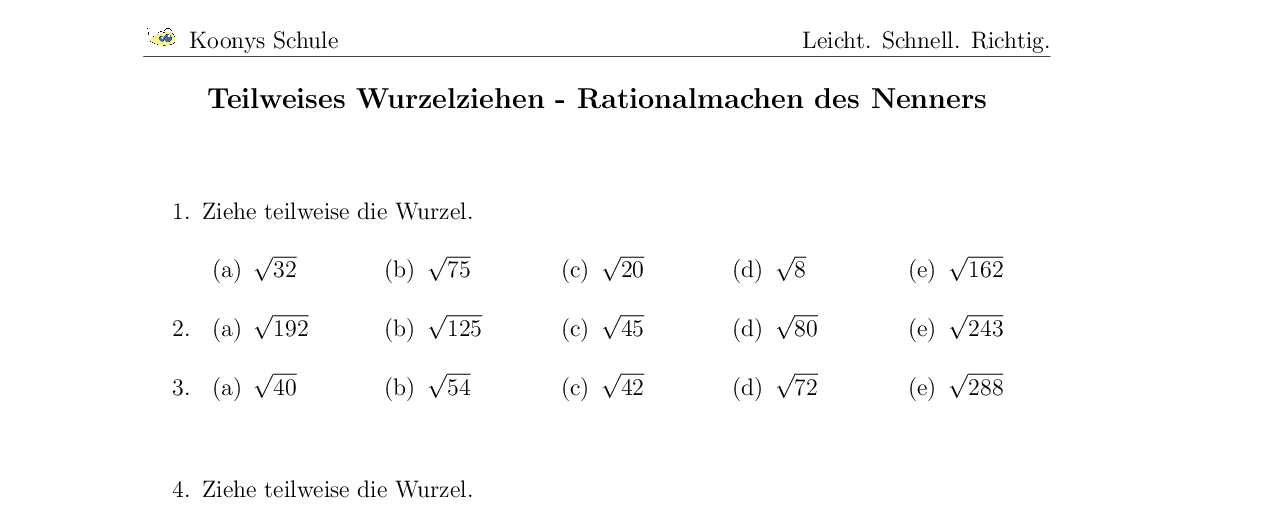 Vorschaubild des Übungsblattes Teilweises Wurzelziehen - Rationalmachen des Nenners