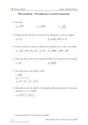 Aufgaben über Klassenarbeit - Wurzelgesetze und Potenzgesetze mit Erklärungen in Videos und Lösungen.