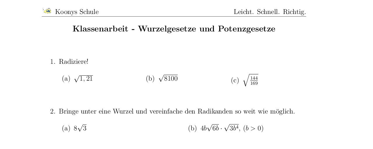 Vorschaubild des Übungsblattes Klassenarbeit - Wurzelgesetze und Potenzgesetze