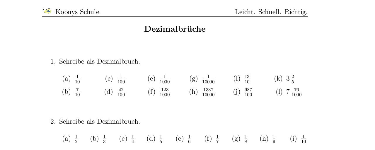 Vorschaubild des Übungsblattes Dezimalbrüche