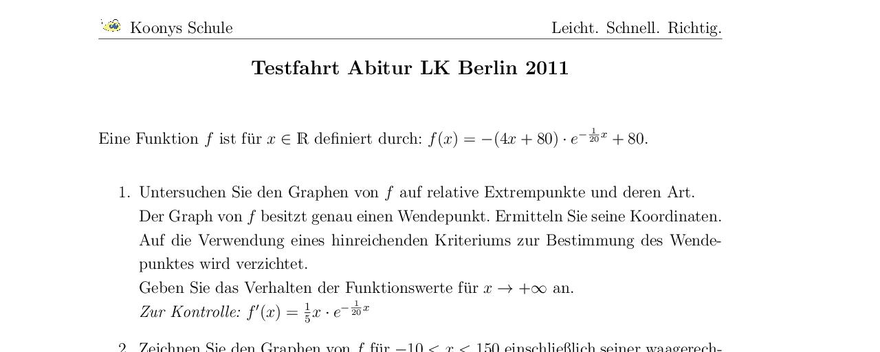 Vorschaubild des Übungsblattes Testfahrt Abitur LK Berlin 2011
