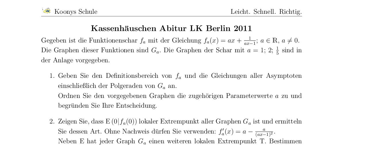Vorschaubild des Übungsblattes Kassenhäuschen Abitur LK Berlin 2011