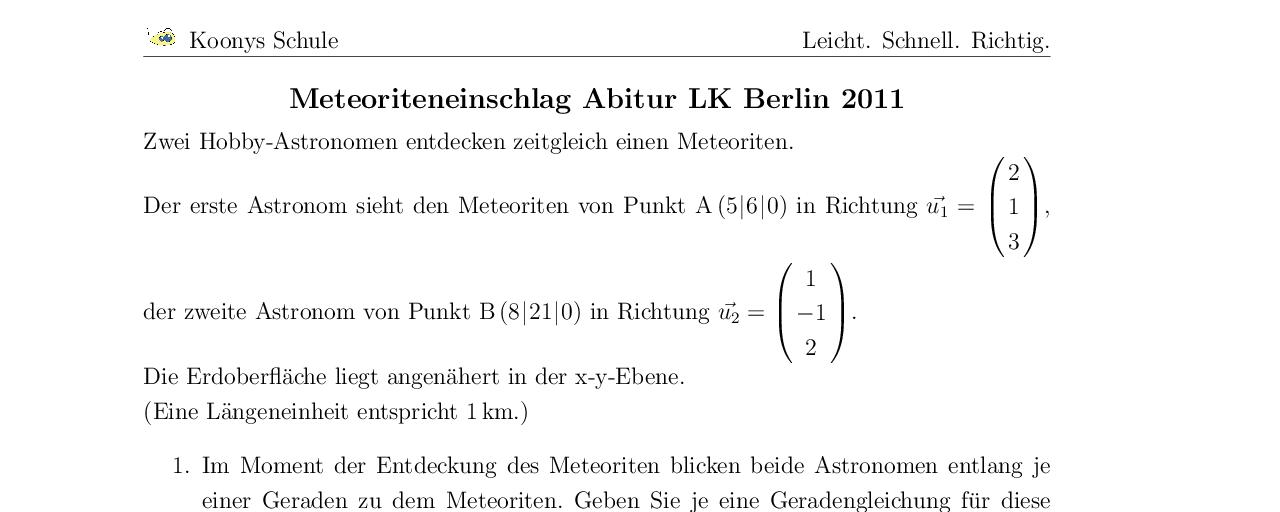 Vorschaubild des Übungsblattes Meteoriteneinschlag Abitur LK Berlin 2011
