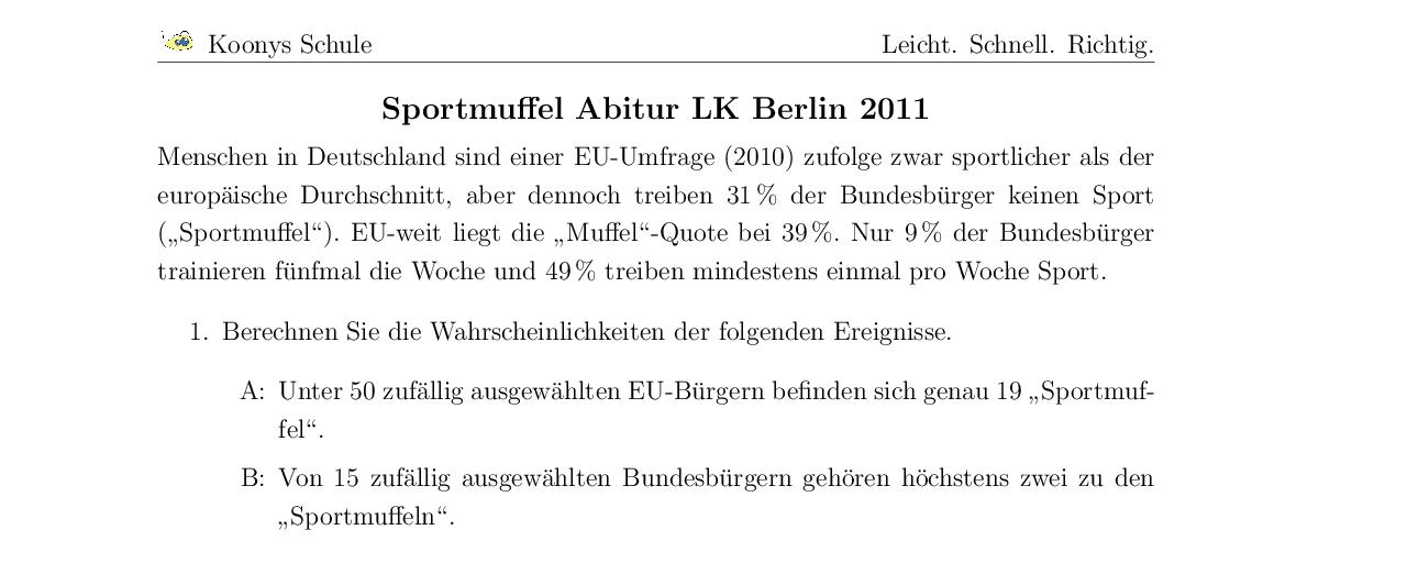 Vorschaubild des Übungsblattes Sportmuffel Abitur LK Berlin 2011