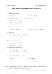 Aufgaben über Wochenübung mit Klammern und Gleichungen mit Erklärungen in Videos und Lösungen.