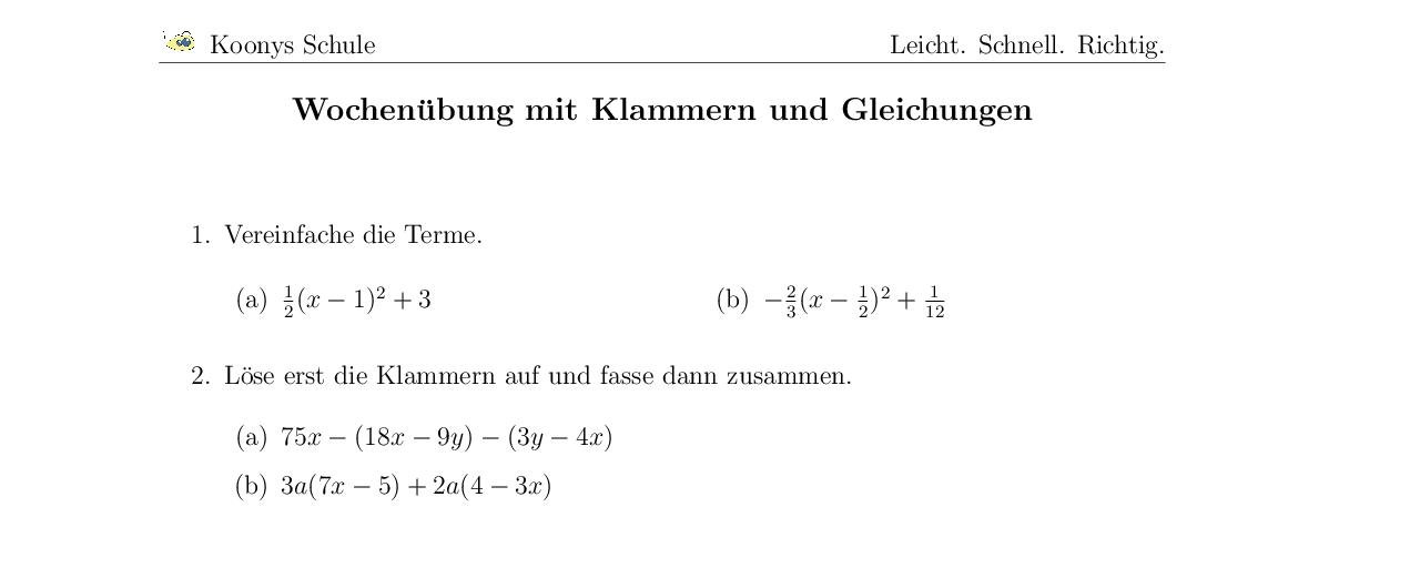 Vorschaubild des Übungsblattes Wochenübung mit Klammern und Gleichungen