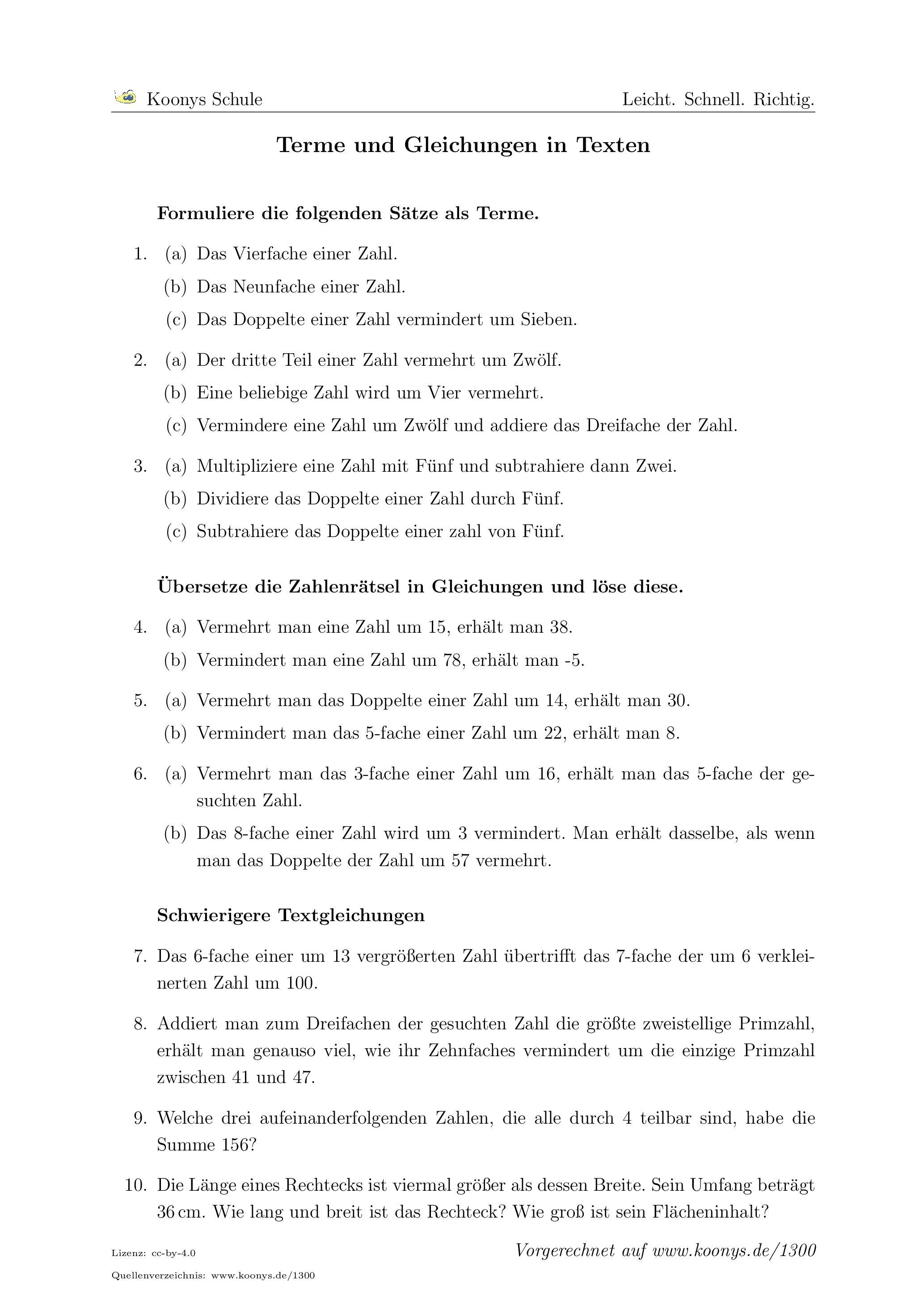 aufgaben terme und gleichungen in texten mit l sungen koonys schule 1300. Black Bedroom Furniture Sets. Home Design Ideas