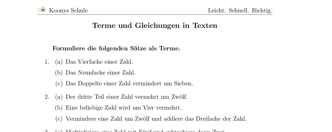 Vorschaubild des Übungsblattes Terme und Gleichungen in Texten