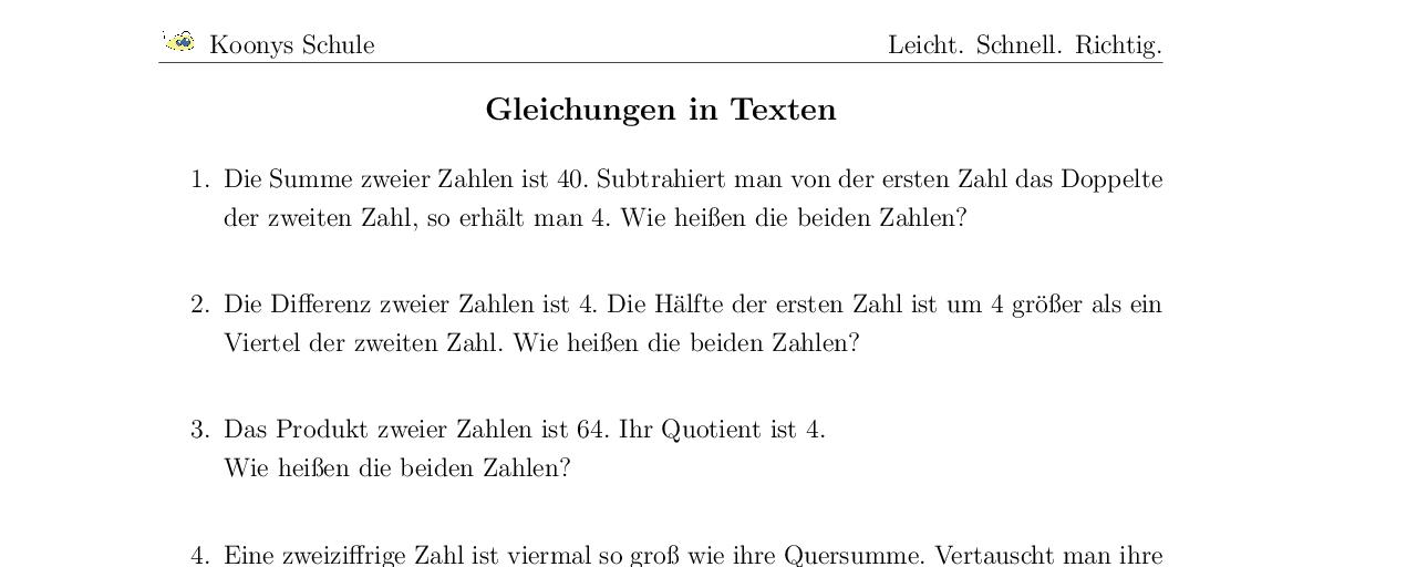 Vorschaubild des Übungsblattes Gleichungen in Texten