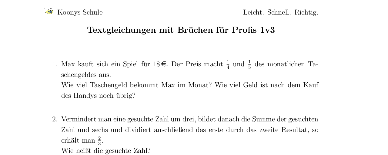 Vorschaubild des Übungsblattes Textgleichungen mit Brüchen für Profis 1v3