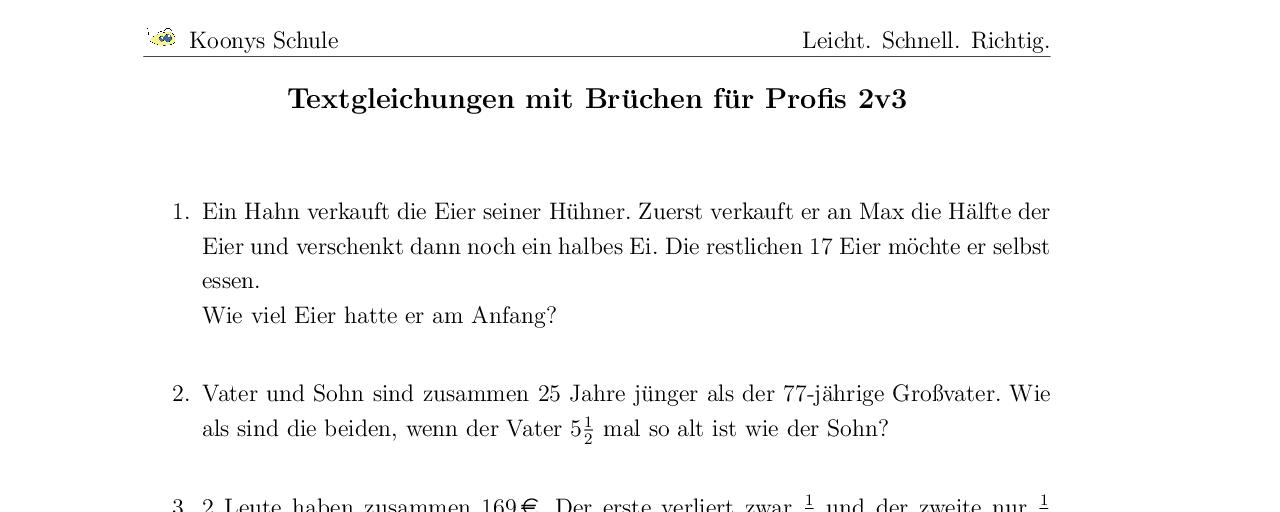 Vorschaubild des Übungsblattes Textgleichungen mit Brüchen für Profis 2v3