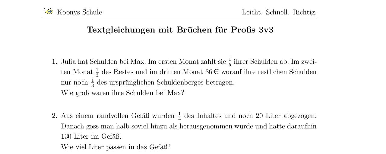 Vorschaubild des Übungsblattes Textgleichungen mit Brüchen für Profis 3v3
