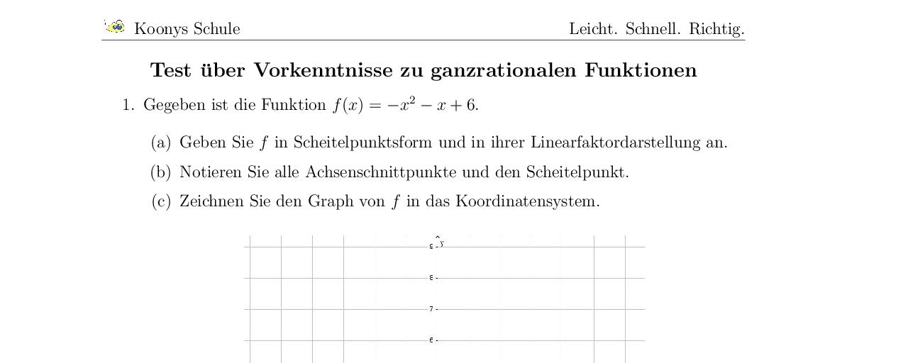Vorschaubild des Übungsblattes Test über Vorkenntnisse zu ganzrationalen Funktionen