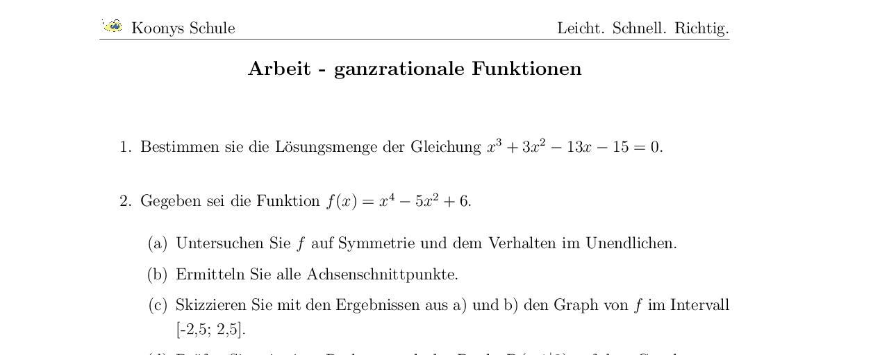 Aufgaben Arbeit - ganzrationale Funktionen mit Lösungen | Koonys ...