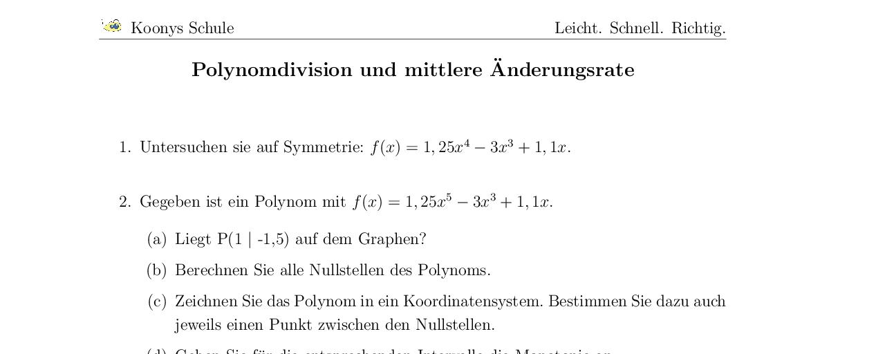 Vorschaubild des Übungsblattes Polynomdivision und mittlere Änderungsrate