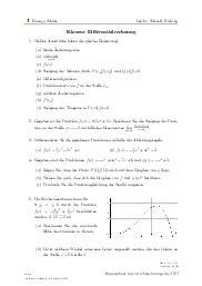 Aufgaben über Klausur Differentialrechnung mit Erklärungen in Videos und Lösungen.