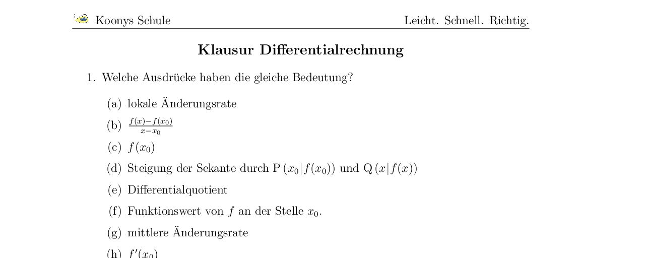 Vorschaubild des Übungsblattes Klausur Differentialrechnung