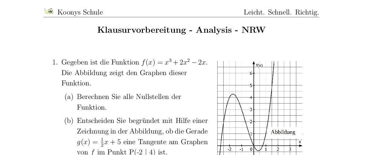 Vorschaubild des Übungsblattes Klausurvorbereitung - Analysis - NRW