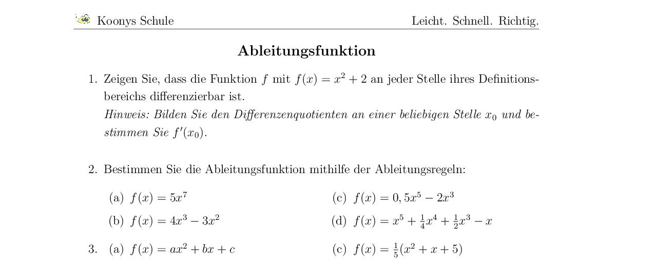 Vorschaubild des Übungsblattes Ableitungsfunktion