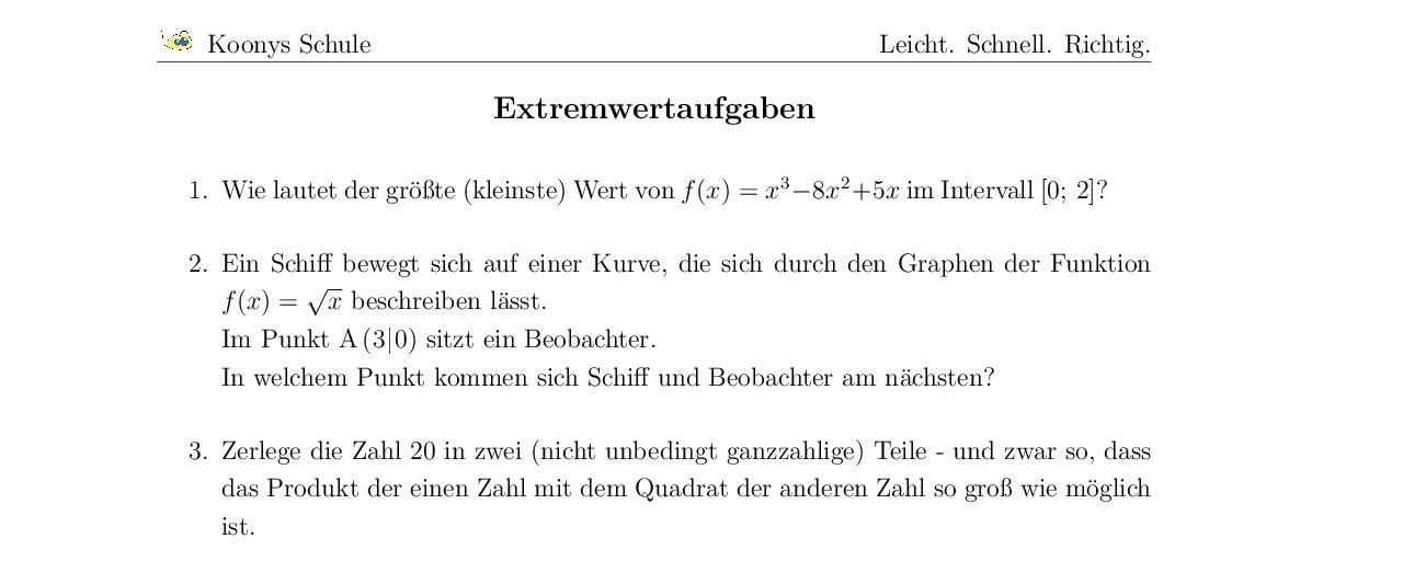 Vorschaubild des Übungsblattes Extremwertaufgaben