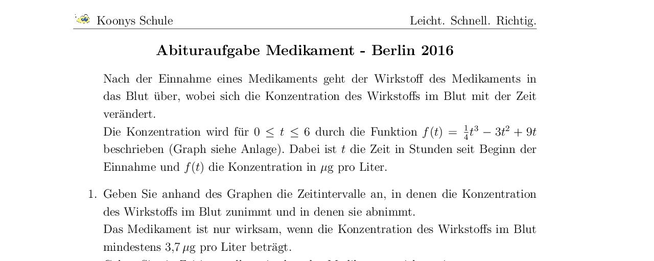 Vorschaubild des Übungsblattes Medikament Abitur GK Berlin 2016