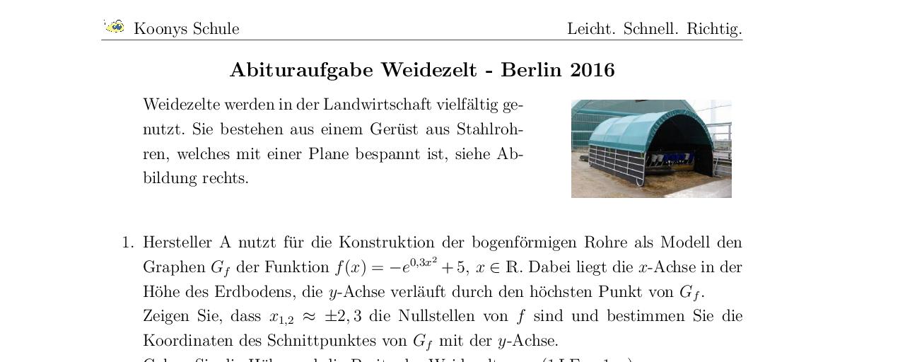 Vorschaubild des Übungsblattes Weidezelt Abitur GK Berlin 2016