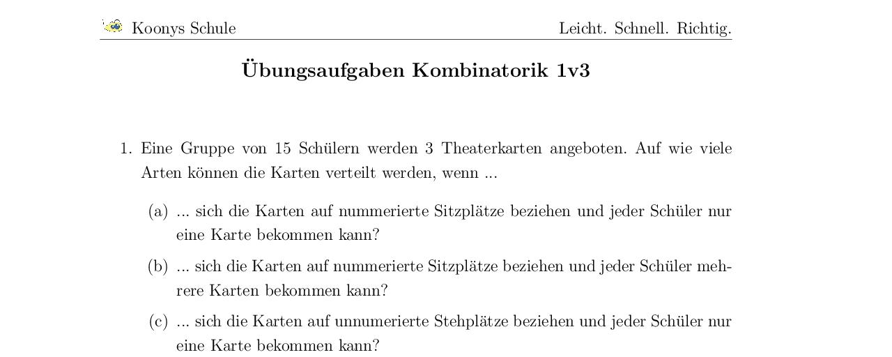 Vorschaubild des Übungsblattes Übungsaufgaben Kombinatorik 1v3