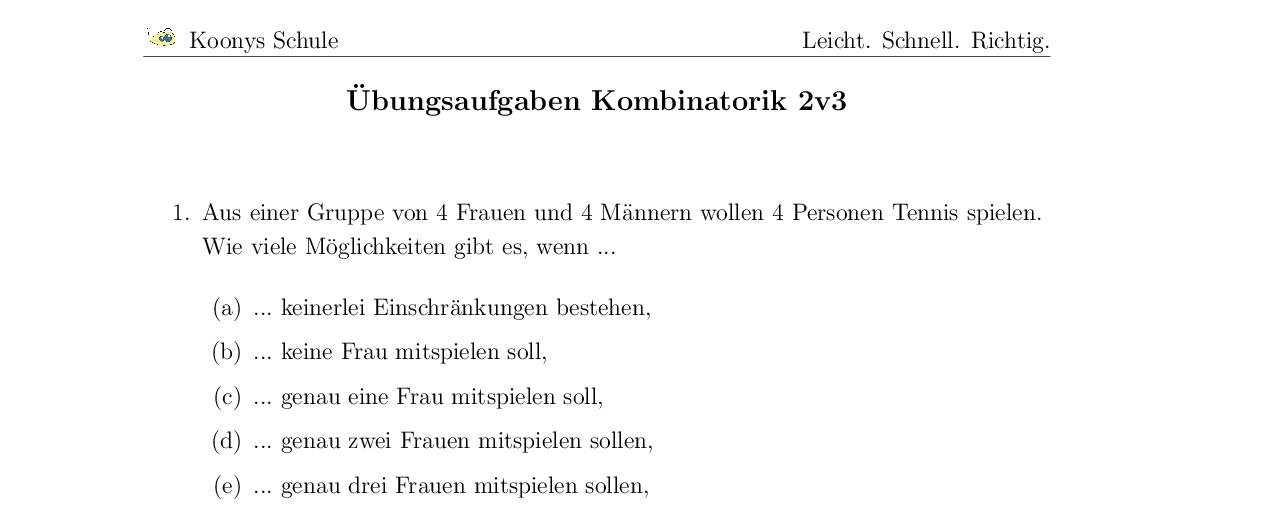 Vorschaubild des Übungsblattes Übungsaufgaben Kombinatorik 2v3