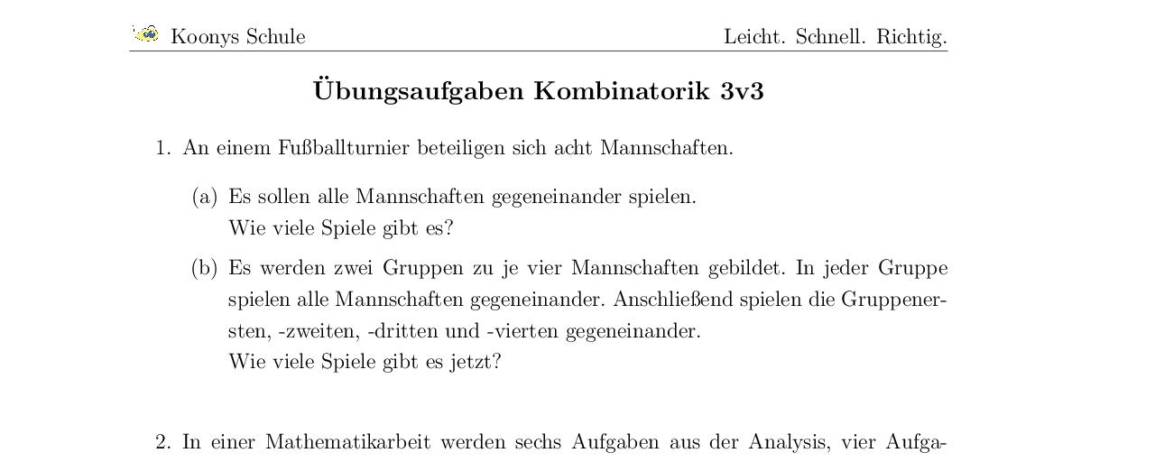 Vorschaubild des Übungsblattes Übungsaufgaben Kombinatorik 3v3