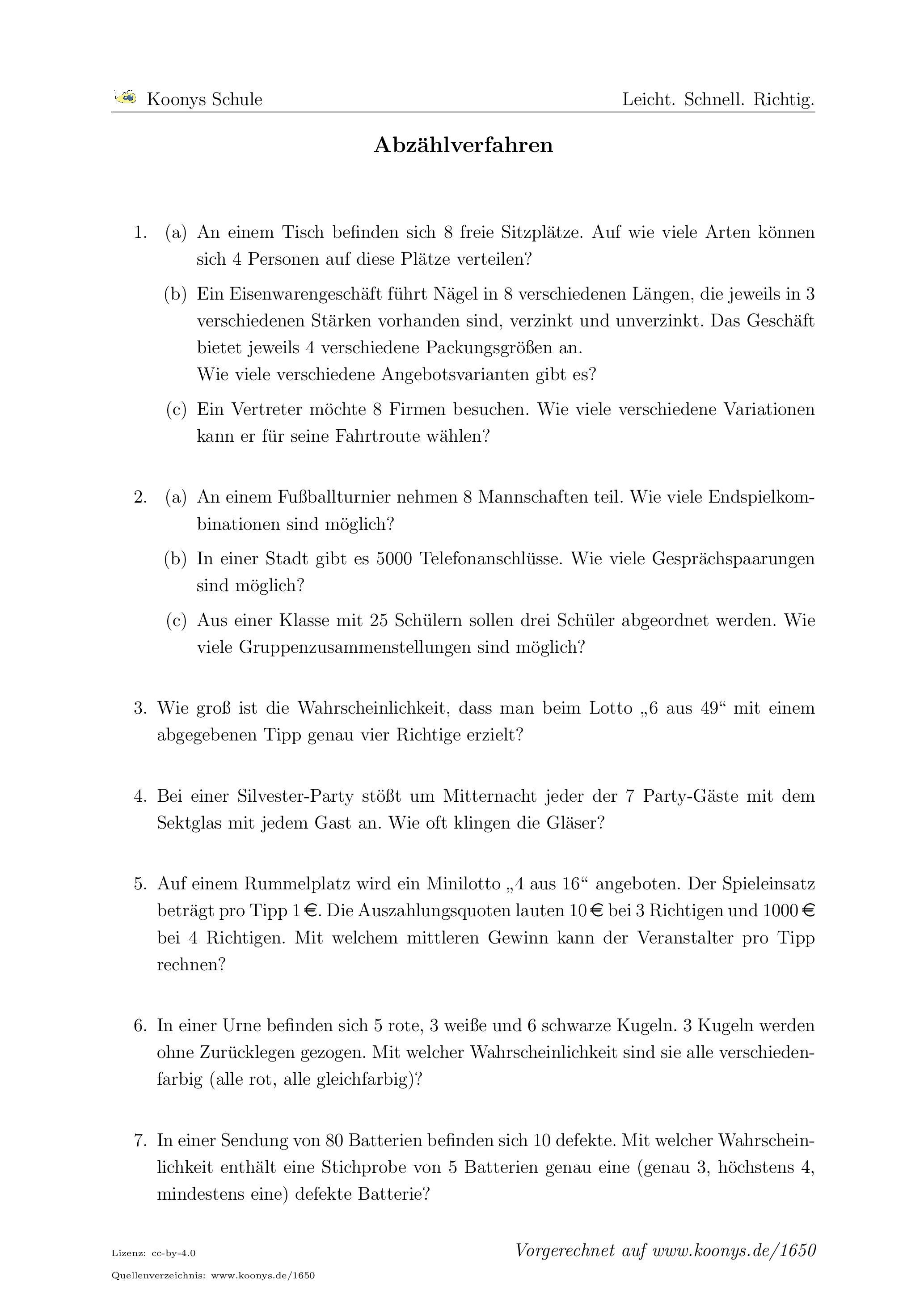Aufgaben Abzählverfahren mit Lösungen | Koonys Schule #1650