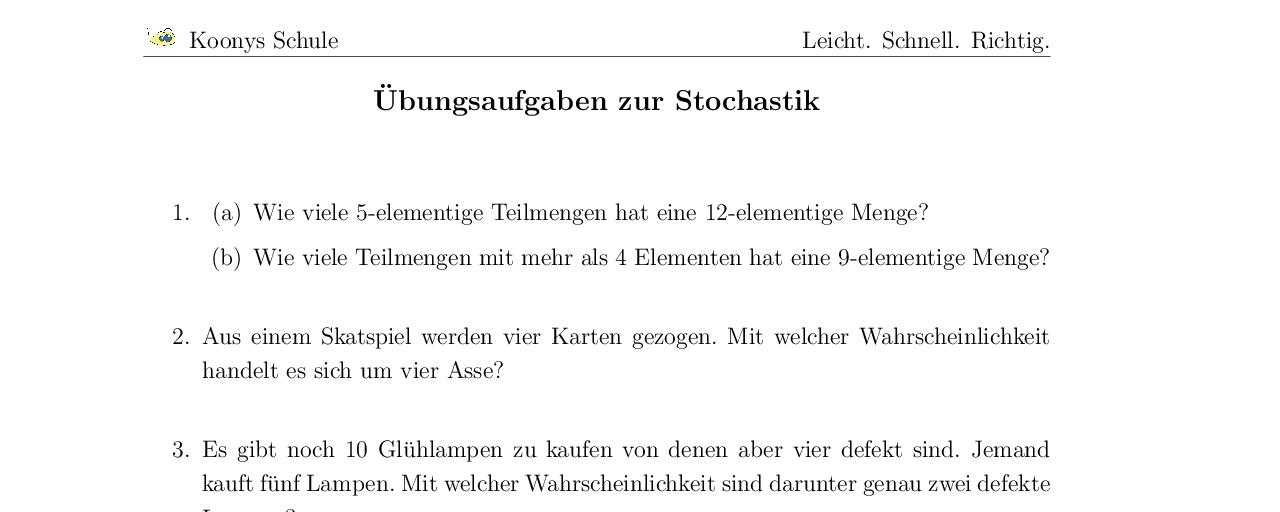 Vorschaubild des Übungsblattes Übungsaufgaben zur Stochastik