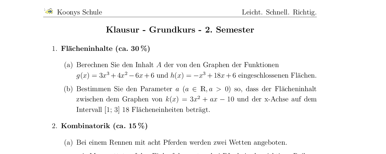 Vorschaubild des Übungsblattes Klausur - Grundkurs - 2. Semester