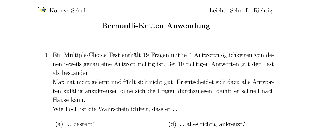 Vorschaubild des Übungsblattes Bernoulli-Ketten Anwendung