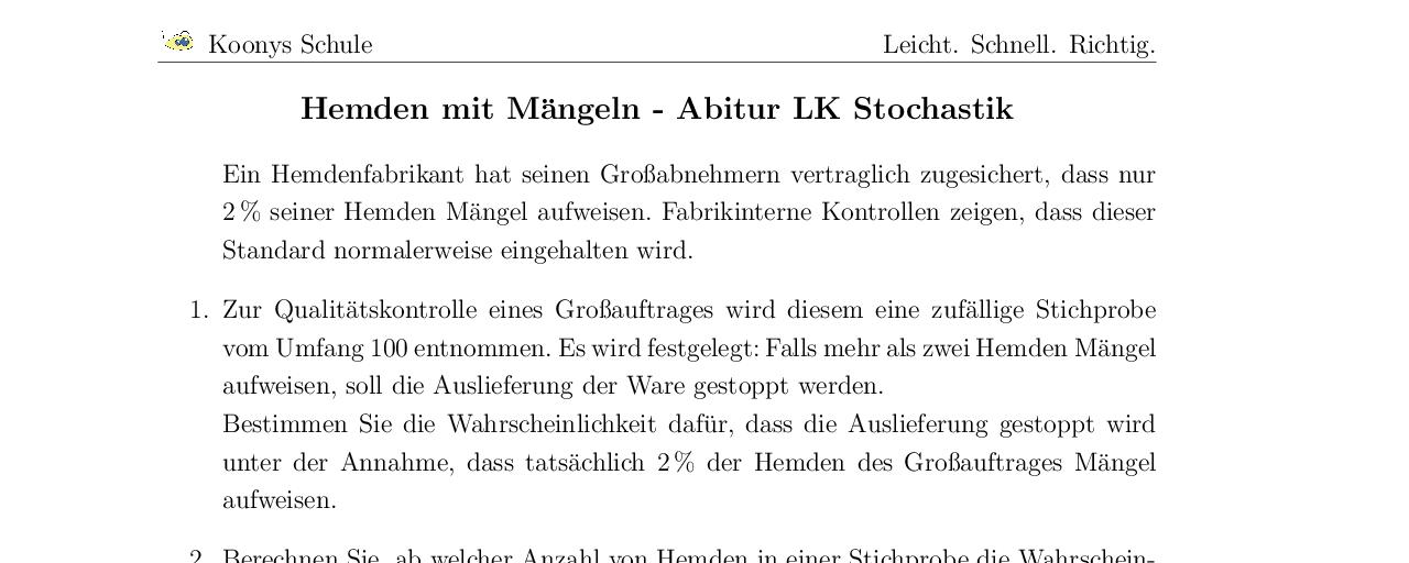 Vorschaubild des Übungsblattes Hemden mit Mängeln Abitur LK Berlin 2011
