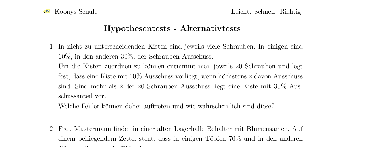 Vorschaubild des Übungsblattes Hypothesentests - Alternativtests